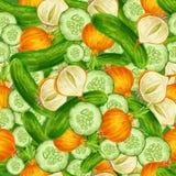 Vegetables seamless background stock illustration