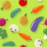 Vegetables seamless pattern. Multicolored vegetables on a green background. Vegetarian picture. Healthy organic pattern. royalty free illustration
