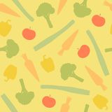 Vegetables seamless pattern. Vegetables silhouettes seamless pattern. Vector EPS10 iilustration Stock Photos