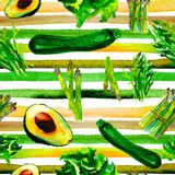 Vegetables Seamless Pattern with Stripes. Repeatable Pattern with Healthy Food. stock photo