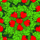 Vegetables seamless pattern with tomatoes, cucumbers and salad. Green color vector illustration