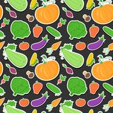 Vegetables seamless pattern, vector background Stock Photos
