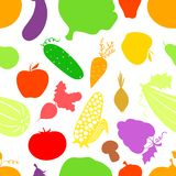 Vegetables seamless pattern, vector background Royalty Free Stock Photo
