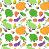 Vegetables seamless pattern, vector background Royalty Free Stock Image