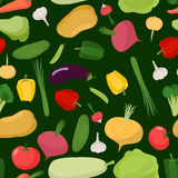Vegetables seamless pattern. Vector background of tomatoes and c Royalty Free Stock Photo