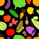 Vegetables seamless pattern, vector dark Stock Photography