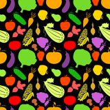 Vegetables seamless pattern, vector dark Royalty Free Stock Photos