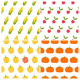 Vegetables seamless patterns set. Healthy food backgrounds Stock Photos