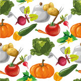 Vegetables seamless vector pattern Stock Photos
