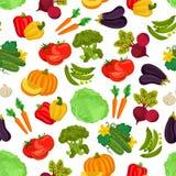 Vegetables seamless vegan pattern of flat icons Stock Photos