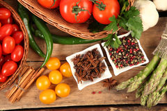 Vegetables and seasoning Royalty Free Stock Photography