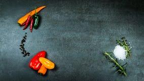 Vegetables with seasonings on dark stone royalty free stock photos