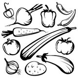 Vegetables set. Stylized vegetables set silhouettes isolated on a white background Royalty Free Stock Images