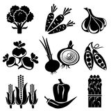Vegetables set. Set of silhouette icons of vegetables. Black and white icons Royalty Free Illustration