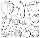 Vegetables set b&w Royalty Free Stock Photos