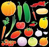 Vegetables set on black Stock Images