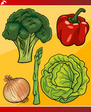 Vegetables set cartoon illustration Royalty Free Stock Images