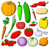 Vegetables set without gradients Stock Photo