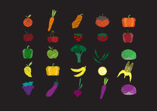 Vegetables Set hand drawn doodle elements on Chalkboard,Vector illustrations Royalty Free Stock Image