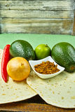 Vegetables set for mexican avocado sauce guacamole Royalty Free Stock Images