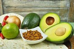 Vegetables set for mexican avocado sauce guacamole Royalty Free Stock Image