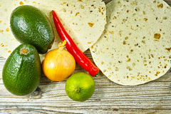 Vegetables set for mexican avocado sauce guacamole Stock Images