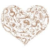 Vegetables set in shape of heart royalty free illustration