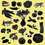 Vegetables set. Vector Illustration of vegetables in silhouette mode Royalty Free Stock Photography