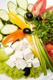 Vegetables and sheep cheese Royalty Free Stock Image