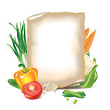 Vegetables and sheet of paper Royalty Free Stock Image