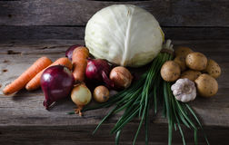 Vegetables on a shelf in the cellar Royalty Free Stock Images