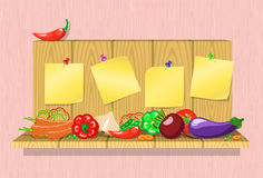 Vegetables on the shelf with stickers Royalty Free Stock Photography