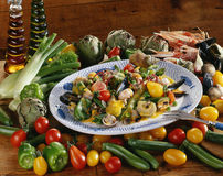 Vegetables with shellfish and curry sauce Stock Image