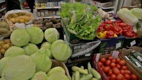 Vegetables in the shop. Lemons cabbage carrot salad Pumpkin Pamela stock footage