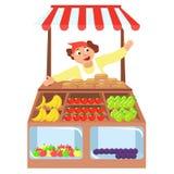Vegetables shop stall, farmers market,. Cartoon characters vector, Local market farmer fruit vector illustration