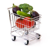 Vegetables in shopping cart. Isolated Royalty Free Stock Image