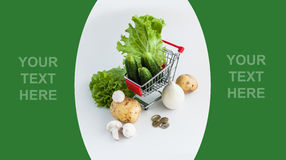 Vegetables in shopping cart Stock Photo