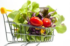 Vegetables in the shopping cart on white background. For healthy food concept royalty free stock photography