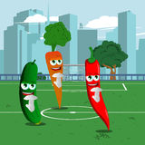 Vegetables showing time out sign on a football field Stock Image
