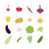 Vegetables silhouette icons Set. Vector illustration. Carrots an Royalty Free Stock Image