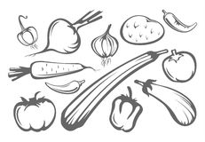 Vegetables silhouettes stock illustration