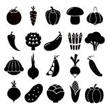 Vegetables silhouettes icons stock illustration