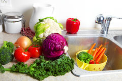 Vegetables in the sink Stock Image