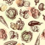 Vegetables sketch seamless pattern royalty free illustration