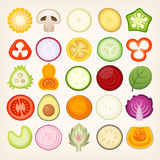 Vegetables sliced in half. Vegetable slices illustrations. Vector vegetables cut in halves. Circle shaped healthy food cuts stock illustration