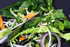 Vegetables sliced stir fry Stock Photo