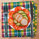 Vegetables, slices of meatloaf Stock Photo