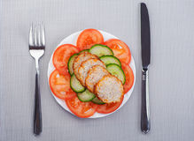 Vegetables, slices of meatloaf Stock Image