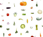 Vegetables small signs. Vegetables pattern on white - hand-drawn vector seamless pattern of vegetables,  on transparent with white background, metaphor of Royalty Free Stock Photography