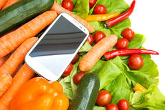 Vegetables and a Smartphone Royalty Free Stock Image